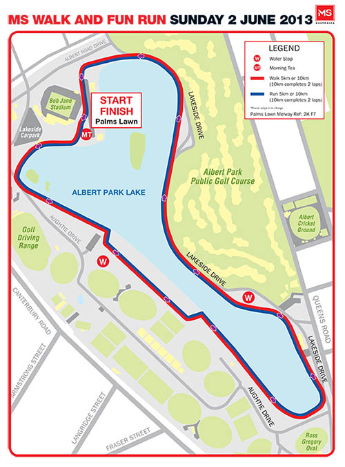 MS Walk + Run Melbourne 2013 Map