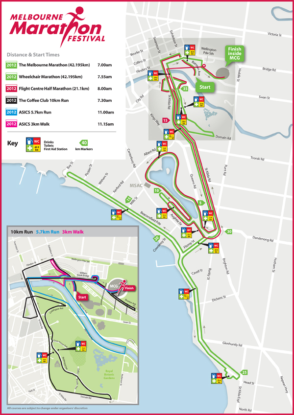 2012 Melbourne Marathon Map