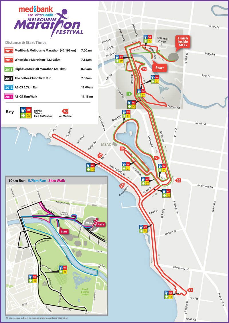 Melbourne Marathon 2013 Map