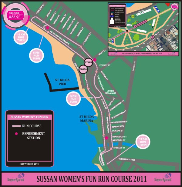 Sussan Womens Fun Run Map