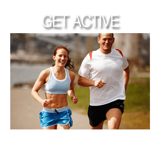 Get Active text and man and woman running together