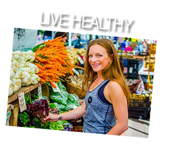 Live Healthy text and smiling woman shopping for fresh vegetables holding a purple cabbage
