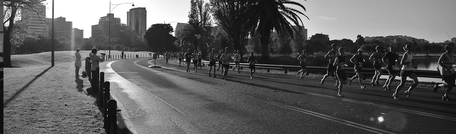 Fun run fitness event in Melbourne, black and white