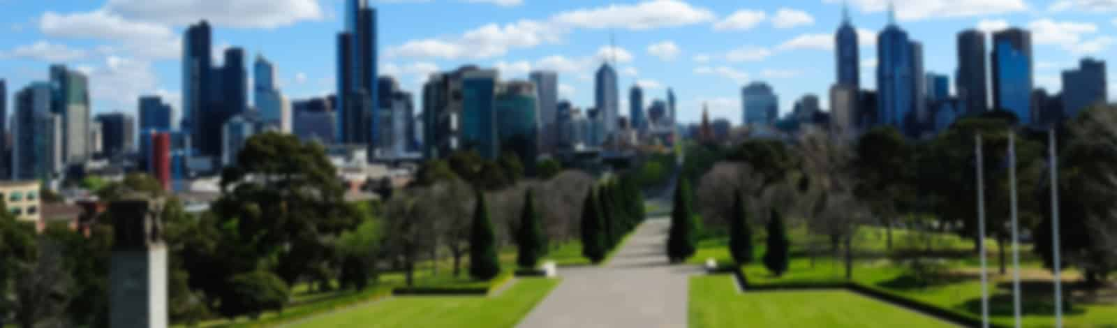 Melbourne outdoor exercise area with Melbourne skyline blurred