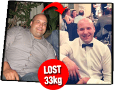 Before and after picture of healthy client Alan